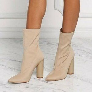 Cape Robbin Beige Sock Ankle Boots